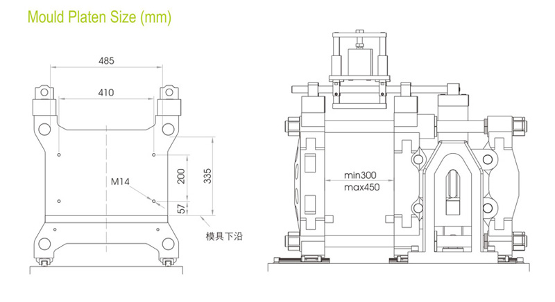 Drawing of mold platen for stretch blow machine SBD480